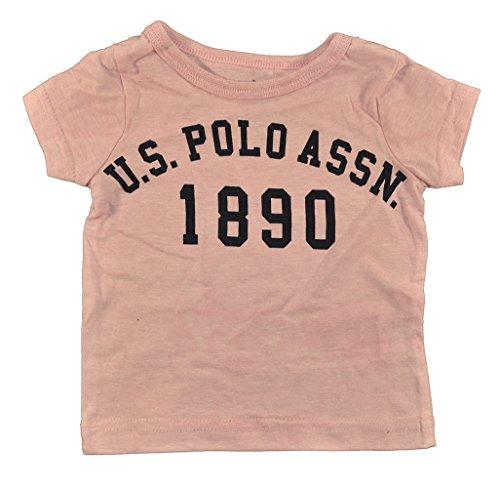 US Polo Assn baby Girls S/S Top 2pc Polka Dot Chambray Skort Set (12M, Pink)