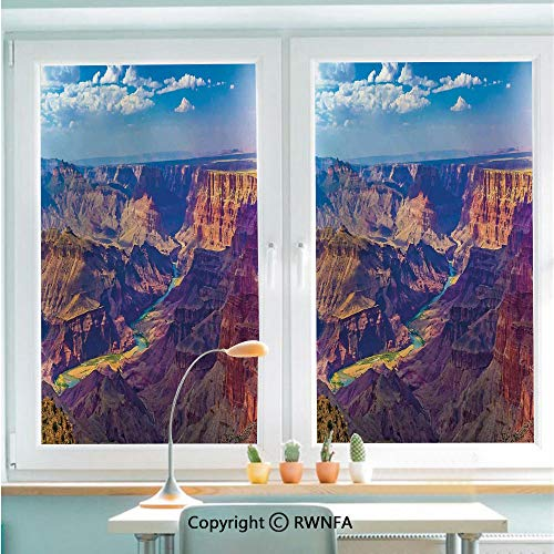 (Window Door Sticker Glass Film,Aerial View of Epic Grand Canyon Activity of River Stream Over Rock Plateau Print Anti UV Heat Control Privacy Kitchen Curtains for Glass,22.8 x 35.4 inch,Blue Tan)
