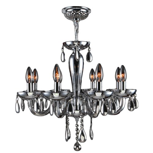 Worldwide Lighting Gatsby Collection 8 Light Chrome Finish and Chrome Blown Glass Chandelier 22