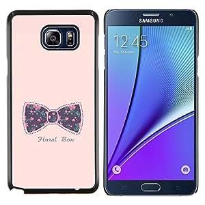 KLONGSHOP // Cubierta de piel con cierre a presión Shell trasero duro de goma Protección Caso - arco pajarita rosa texto bebé floral púrpura - Samsung Galaxy Note 5 5th N9200 //
