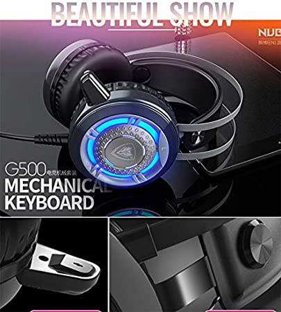 HUOGUOYIN Gaming Keyboard Mechanical Gaming Keyboard and Mouse Combo with PC Gaming Headset,Multicolor LED Backlit USB Wired with Blue Switch,Hand Rest Keyboard