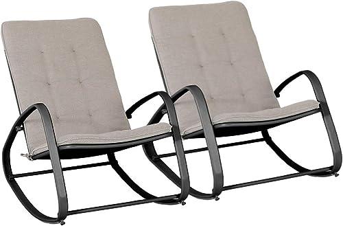 PHI VILLA Outdoor Patio Metal Rocking Chair