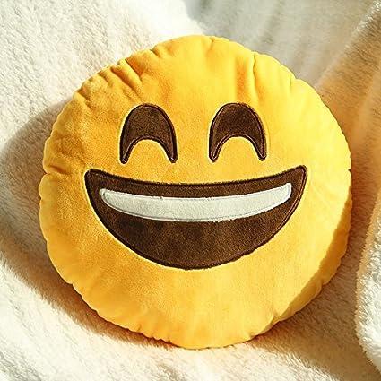 Emoji 32 cm, Diseño de Emoticonos Emoticon Amarillo Redonda Cojín de Peluche Rellenas Peluche