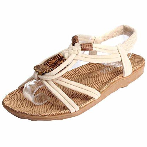 Highdas 2016 Verano Moda Mujeress Sandalias Gladiator Brief Herringbone Flip-flop Casual Señoras Zapatos A-Beige