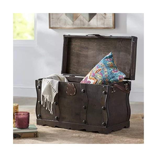 Vintiquewise Antique Style Distressed Wooden Pirate Treasure Chest, Coffee Table Trunk