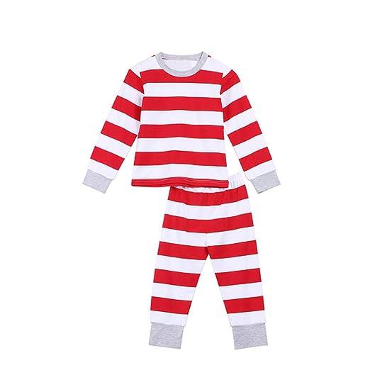 a5da797f96d7 Amazon.com  FEDULK Matching Family Christmas Pajamas Striped Print ...