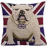 EHC pour chien Bouledogue drapeau UK nœud décoratif en tissu Chenille Housse de coussin