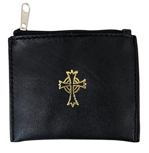 Leather Crucifix - Genuine Leather Lined Rosary Case with Celtic Cross Crucifix, Black, 3 3/4 Inch