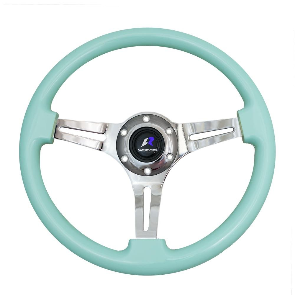 LR Universal 14'' steering wheel with horn, 6 bolts 1.75'' Dish, Mirrored Chrome Spoke (Tiffany blue) by LinesRacing