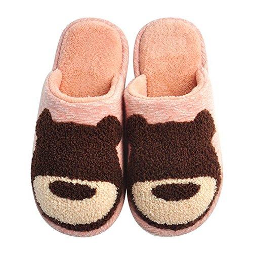 Cybling Vrouwen Mooie Cartoon Katoenen Slippers Zachte Namaakbont Warme Slaapkamer Indoor Schoenen Roze