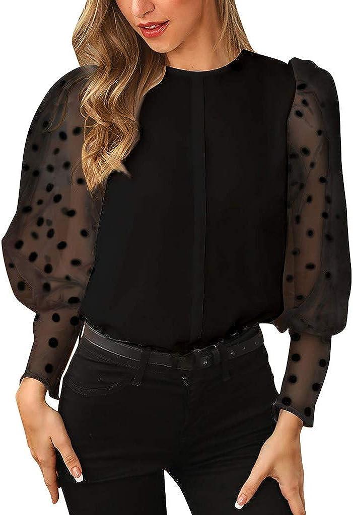 Meikosks Womens Lantern Sleeve Transparent Dot T Shirt Fashion Elegant Blouses Tops Casual Pullover