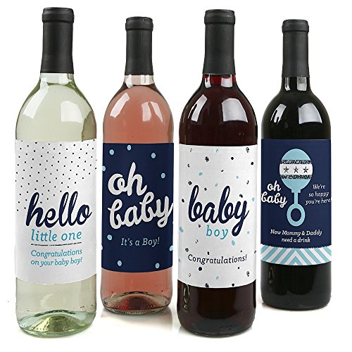 Hello Little One - Blue and Silver - Boy Baby Shower Gift Women and Men - Wine Bottle Label Stickers - Set of 4 -