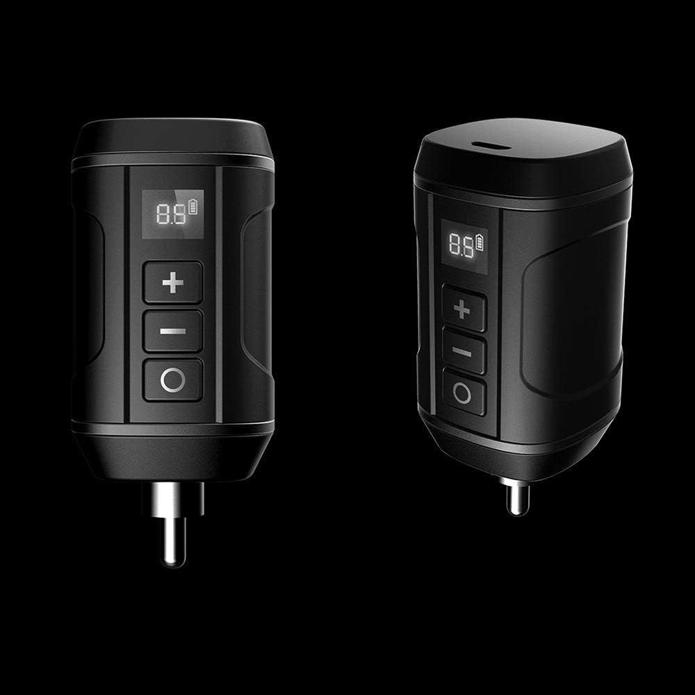 avec 1650mAh Batterie au Lithium /écran LCD 8 Position Tension r/églable pour linterface DC RCA Tattoo Pen,Noir,RCA Alimentation de Tatouage Mobile Mini Puissance de Tatouage