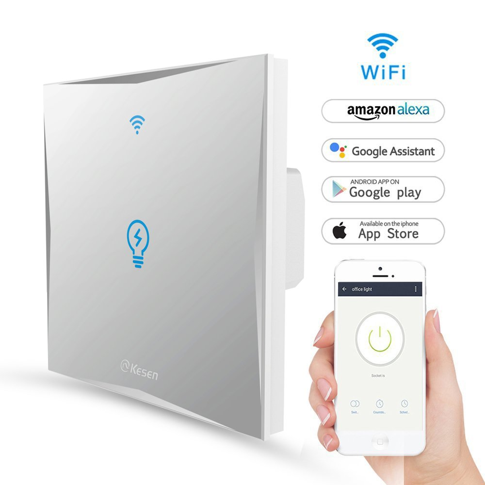 Smart Light Switch, WiFi Light Switches Wall Work with  Alexa and Google Home, Tempered Glass Touch-Screen, Wireless Remote, Timing Function, Overload Protection, No Hub Required(Switch 1 Gang) FEYG