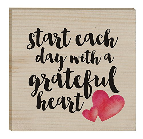 Start Each Day Script Red Heart Design 3 x 3 Inch Solid Pine Wood Rustic Magnet