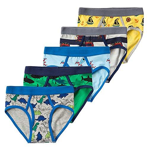 B.GKAKA Little Boys  Toddler Underwear Boys Dinosaur 5-Pack Briefs Size 2/3T Multi-colors/Dinosaur/Space/Sailboat/Shark XXS (Boys Underpants)