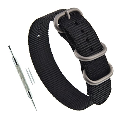 22mm Black Thick ZULU Nylon Watch Band Strap Replacement Matte Silver Buckle (Zulu Watch Strap)