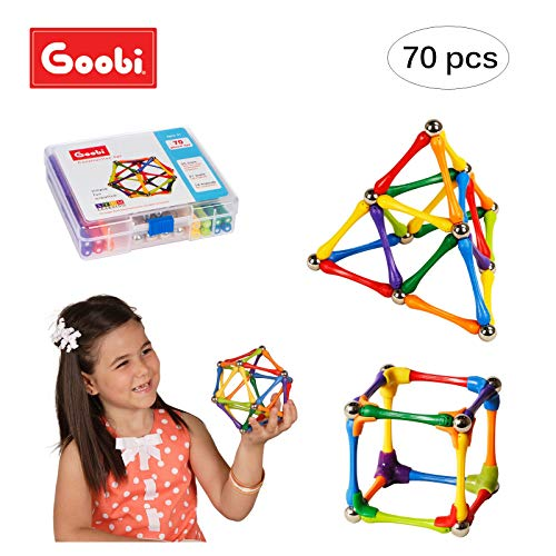 Goobi 70 Piece Construction Set Building Toy Active Play Sticks STEM Learning Creativity Imagination Children's 3D Puzzle Educational Brain Toys for Kids Boys and Girls with Instruction Booklet ()