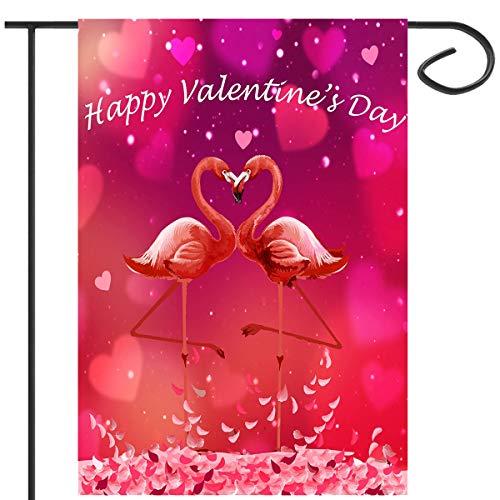 Apipi Valentines Day Flamingo Rose Flowers Outdoor Garden Flag - 12
