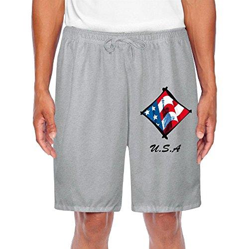 Statue Liberty Clipart (Men's Us-Flag-Statue Of Liberty-Clipart Cool Slim Jogging Fleece 100% Cotton Gym Joggers Shorts Sweatpants Swim Trunk Bottom Lounge Shorts)
