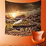 UHOO2018 Square Tapestry Glenfinnan Railway Viaduct in Scotland with The Jacobite Steam Train Against Sun Over Lake Throw, Bed, Tapestry, or Yoga Blanket 39W x 39L Inch