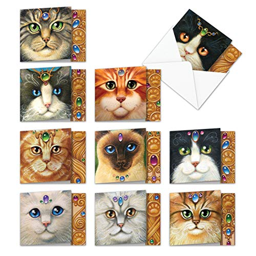 Fancy Felines: 10 Assorted Square-Top Blank, All Occasions Note Cards Featuring Closely Cropped Detailed Portrait Illustrations of Various Cat Faces with Envelopes. MQ4602OCB-B1x10