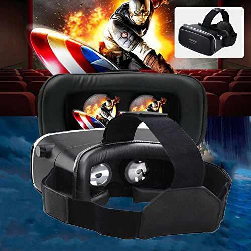 K.MAX 3D VR Glasses with Pupil Focal Distance Adjustable, virtual reality Boxes with Stereo Headphone Movie Game Compatible with IOS, Android, Microsoft& PC phones Series within 3.5 - 6.0Inch