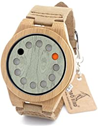 BOBO BIRD B076 Unisex Bamboo Wood Watches Dial Dia 45mm With Real Leather Watch Bands