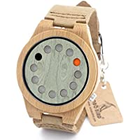 A03 Men's Women's Bamboo Wood Watches 12 Holes Timer Design With Real Leather Watch Bands