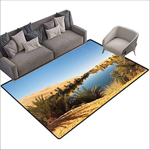 Oversized Floor Rug Desert Idyllic Oasis Awbari Sand Sea Sahara Libya Pond Lush Arid Country Personality W6'7 x L9'10 Light Blue Green Sand Brown