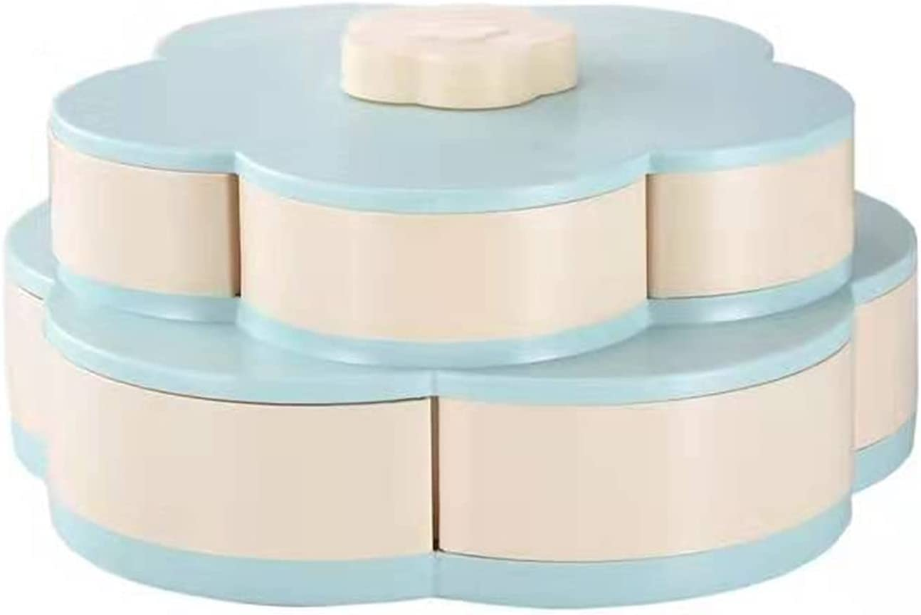 Double Layer Candy and Nut Serving Tray, Flower Rotating Snack Serving Tray, Storage Box for Food, Fruit Box, Dry Fruit Container (Blue),Blue