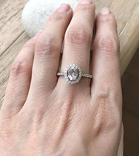 Peach Sapphire Engagement Ring- Halo Sapphire Promise Ring- 1 Carat Sapphire Ring- Oval Sapphire Anniversary Ring- September Birthstone (Peach Sapphire)