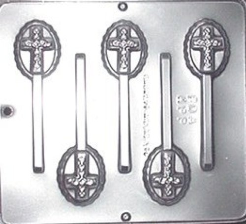Cross on Oval Lollipop Chocolate Candy Mold Religious - Religious Molds Candy