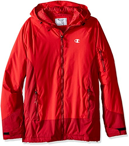 Champion Men's Technical Ripstop Ski Jacket with Hood, Scarlet, Large