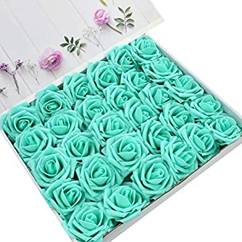 DerBlue 60pcs Artificial Roses Flowers Real Looking Fake Roses Artificial Foam Roses Decoration DIY for Wedding Bouquets Centerpieces,Arrangements Party Home Decorations(Tiffany Blue)