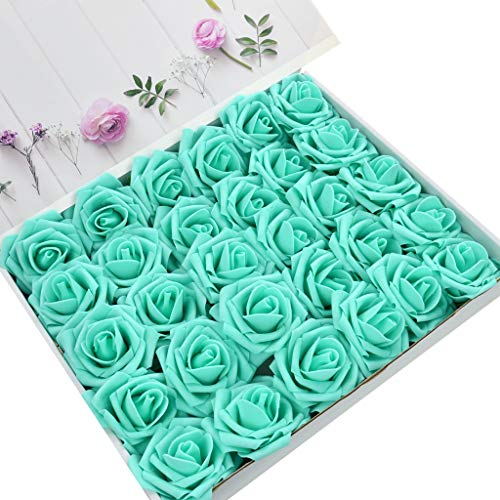 DerBlue 60pcs Artificial Roses Flowers Real Looking Fake Roses Artificial Foam Roses Decoration DIY for Wedding Bouquets Centerpieces,Arrangements Party Baby Shower Home Decorations (Tiffany Blue)