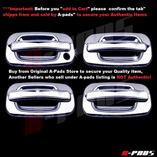A-PADS 4 Chrome Door Handle Covers for Cadillac ESCALADE 2002-2006 / GMC SIERRA 1999-06 & YUKON 2000-06 - WITHOUT Passenger Keyhole