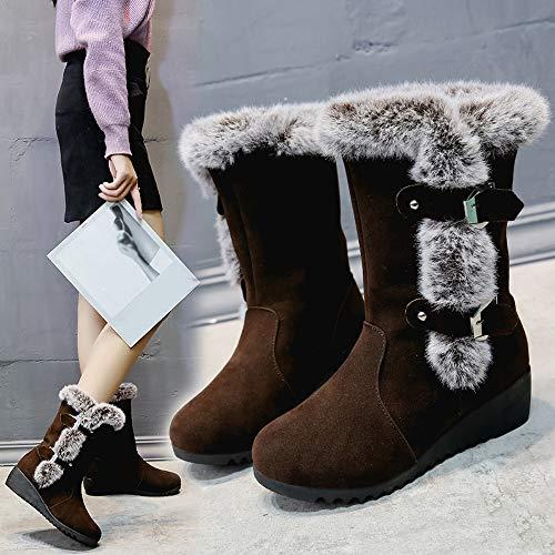 Maintien Chaussures Café Compensées Bottines Top Chaud Neige Courroie Au Suède Bottes Randonnee Ronde Couleur De Femmes beauty Fourrées Cuir Femme HPwRqOxZ