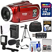 Vivitar DVR 960HD 1080p HD 12x Optical Zoom Video Camera Camcorder (Red) + 32GB Card + Battery & Charger + Case + LED Light + Microphone + Tripod Kit