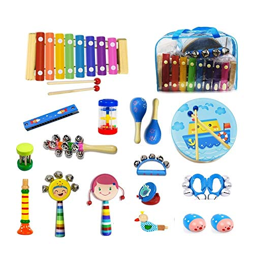 Kids Musical Instruments Set with Xylophone,18pcs Music Toy Wooden Percussion Instruments for Toddler and Preschool -