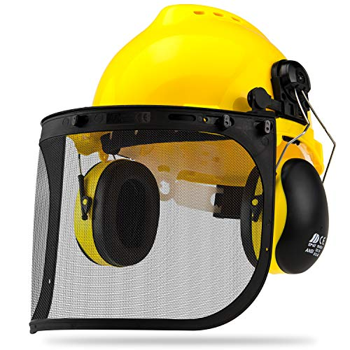 Neiko 53880A 4-in-1 Safety Helmet with Hearing and Face Protection, Heavy Duty Hard Hat | Removable Ear Muffs and Visors