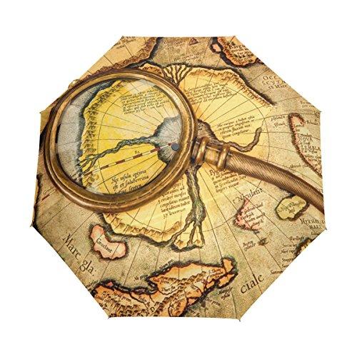 Full Vintage Wallpaper Border (Vintage Old World Map Lightweight UPF 50+ Anti-UV Parasol Waterproof Windproof 3 Folds Auto Open Close Umbrella)