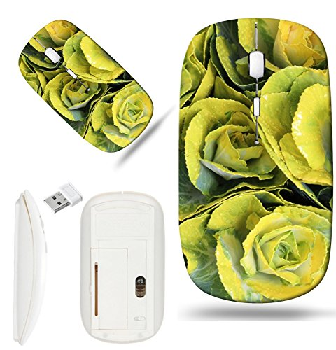 Luxlady Wireless Mouse White Base Travel 2.4G Wireless Mice with USB Receiver, 1000 DPI for notebook, pc, laptop, macdesign IMAGE ID: 22962057 Yellow and Green Mini Cabbage Flowers England