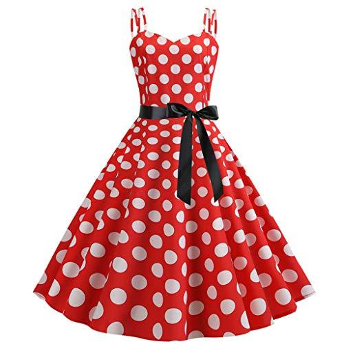 Women Vintage Retro Rockabilly Prom Dresses Sleeveless Polka Dot Gown Scoop Neck Tie Waist Wedding Club Wear(Red, -
