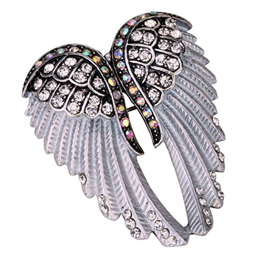 YACQ Women's Guardian Angel Wings Pin Brooch Pendants Biker Jewelry Crystal Costume Accessories - Navy Angel Costume