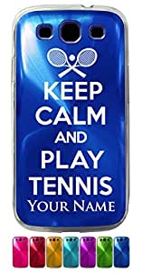Samsung Galaxy S3 Siii Case/Cover - KEEP CALM AND PLAY TENNIS - Personalized for FREE (Click the CONTACT SELLER button after purchase and send a message with your case color and engraving request)