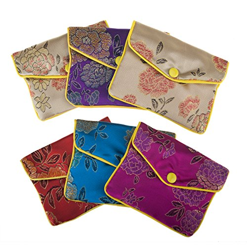 Wholesale Purses (Aspire 24 Pieces Jewelry Pouch, Zipper Purse Gift Bags, Snap Closure - 3 x 4 Inch-Assorted)