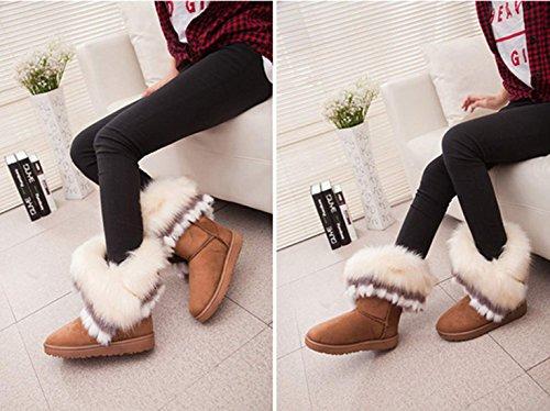 Zeagoo Women Fashion Winter Snow Boots Ankle Boots Warm Fur Shoes Brown L36Socub8