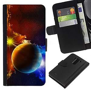 KingStore / Leather Etui en cuir / LG G3 / Los planetas de la galaxia nubes de gas de la estrella Sol Azul Amarillo