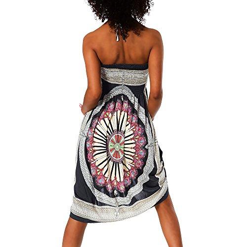 para Diseño Multicolor playa al de F Vestido cuello H112 Schwarz 026 azteca nbsp; mujer Atado AxFqfIAawT